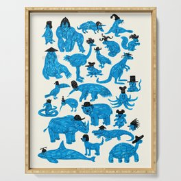 Blue Animals Black Hats Serving Tray
