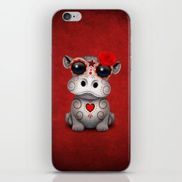 Red Day of the Dead Sugar Skull Hippo Baby iPhone Skin