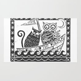 The Owl And The Pussycat (white background) Rug