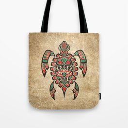 Vintage Red and Green Haida Spirit Sea Turtle Tote Bag