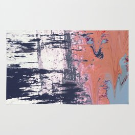 Leap of Faith: colorful abstract piece in blues, pinks, and gold Rug
