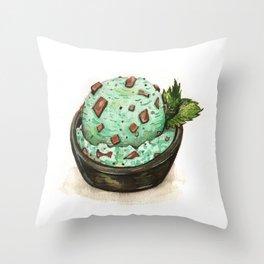 Mint Chocolate Chip Ice Cream Throw Pillow