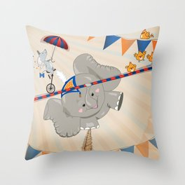 Elephant on tightrope Throw Pillow