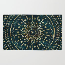 Geometric tribal gold mandala Rug