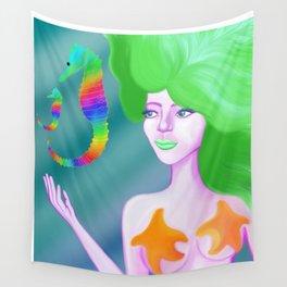 Mermaid with Rainbow Sea Horses Wall Tapestry