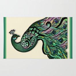 Beautiful Green Peacock Rug