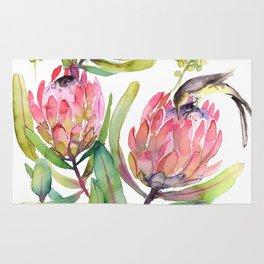 King Protea and Bird Watercolor Illustration Botanical Design Rug