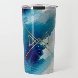 Galaxy Series 3 - a blue and gold abstract mixed media set Travel Mug