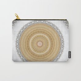 Gold white White and Silver Marble Carry-All Pouch
