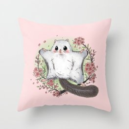 Flying Squirrel with cherry blosson Throw Pillow