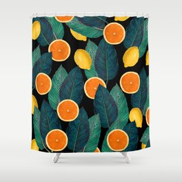 Lemons And Oranges On Black Shower Curtain