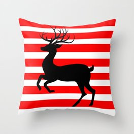 Reindeer On Candy Stripe Throw Pillow