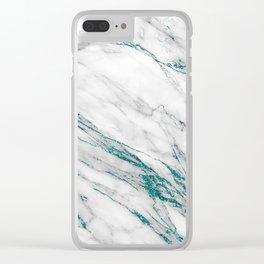 Gray Marble Aqua Teal Metallic Glitter Foil Style Clear iPhone Case