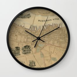 Map of Newburyport 1851 Wall Clock