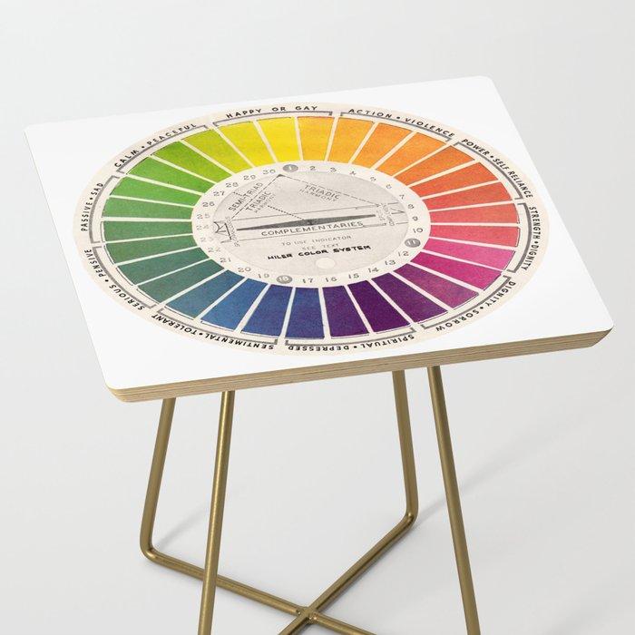 Vintage Color Wheel - Art Teaching Tool - Rainbow Mood Chart Side Table