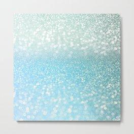 Mermaid Sea Foam Ocean Ombre Glitter Metal Print