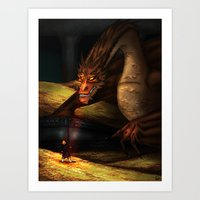 smaug Art Prints featuring Smaug by wolfanita