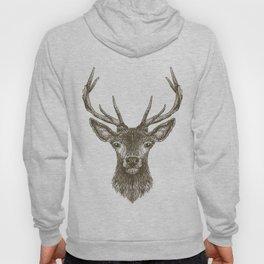 Deer Head Drawing Brown Hoody