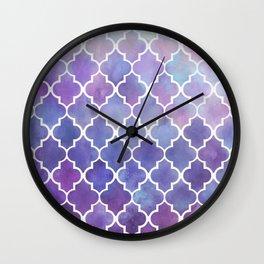 Purples & Pinks Watercolor Moroccan Pattern Wall Clock