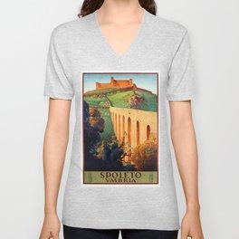 Vintage Spoleto Italy Travel Poster Unisex V-Neck