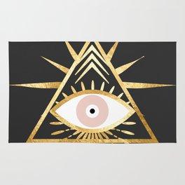 gold foil triangle evil eye Rug