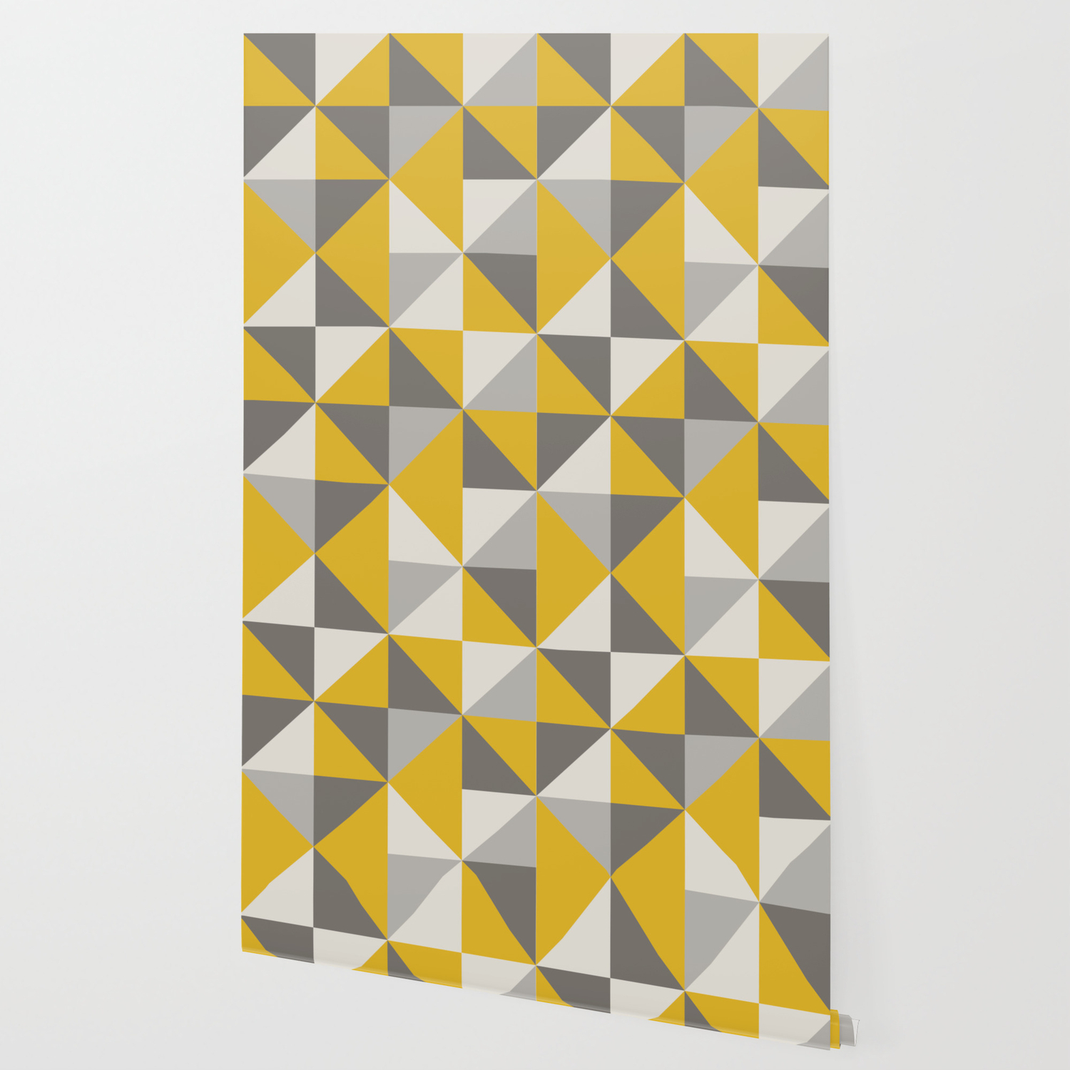 retro triangle pattern in yellow and grey wallpaper