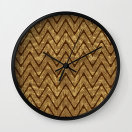 Faux Suede Chocolate Brown Chevron Pattern Wall Clock