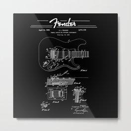 Strato Guitar- Tremolo Patent Diagram - Rock - Blues - Music Metal Print