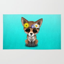 Cute Baby Fox Hippie Rug