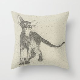 Abyssinian kitten dotted art Throw Pillow