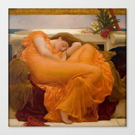 Flaming June Oil Painting by Frederic Lord Leighton Canvas Print