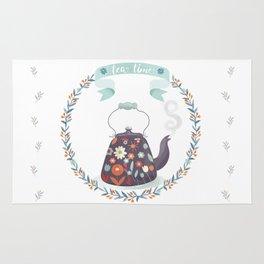 Tea Time Floral Tea Kettle Rug