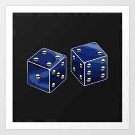 Blue and Gold Dice Art Print