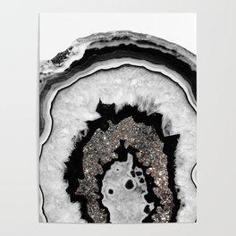 Gray Black White Agate with Silver Glitter #1 #gem #decor #art #society6 Poster