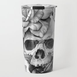 Black and white Skull and Roses Travel Mug