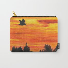 Sunset sky with bird Carry-All Pouch