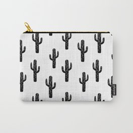 Cactus linocut pattern black and white minimal desert southwest socal joshua tree Carry-All Pouch