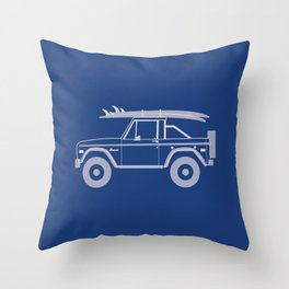 Bronco Blueprint Throw Pillow