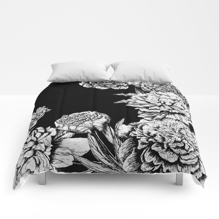Flowers in black and white comforters by magic dreams society6 flowers in black and white comforters mightylinksfo