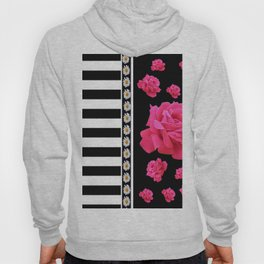 BLACK & WHITE ROSE  PATTERNED ART Hoody
