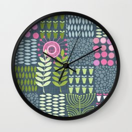 Golden Thyme and Silver Mint Wall Clock