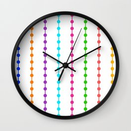 Geometric Droplets Pattern - Rainbow Colors on White Wall Clock