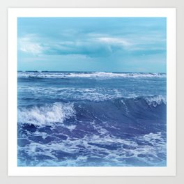 Blue Atlantic Ocean White Cap Waves Clouds in Sky Photograph Art Print
