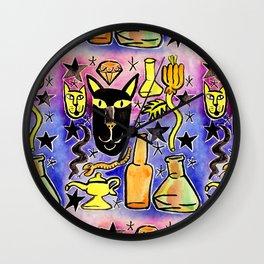 Midnight Black Cat & Magic Potion Wall Clock