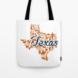 UT Austin Texas Landmark State - Blue and Orange UT Theme Tote Bag