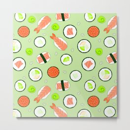 Cute Sushi Pattern Green  Metal Print