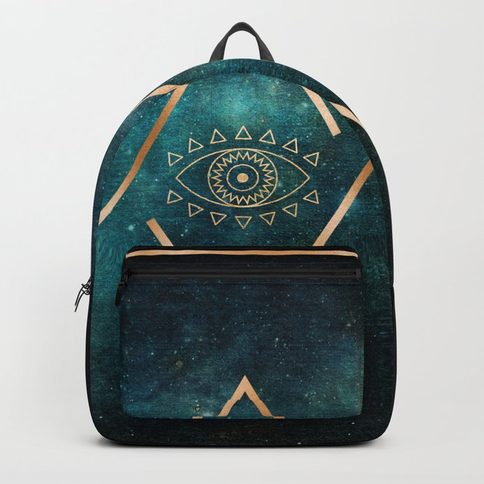 Eye Moon Gold Geometric Tribal Bohemian Mandala Backpack