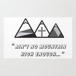 Geometric mountains, christian art, cross, 3 mountains, 3, ain't no mountain high enough qoute Rug