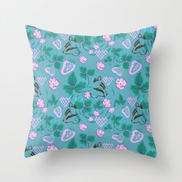 Chipmunks in the Strawberries Throw Pillow
