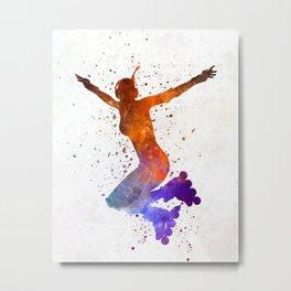 Woman in roller skates 07 in watercolor Metal Print